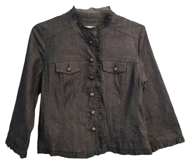 Item - Gray Dark Ruffle Button Front Jacket Size 4 (S)
