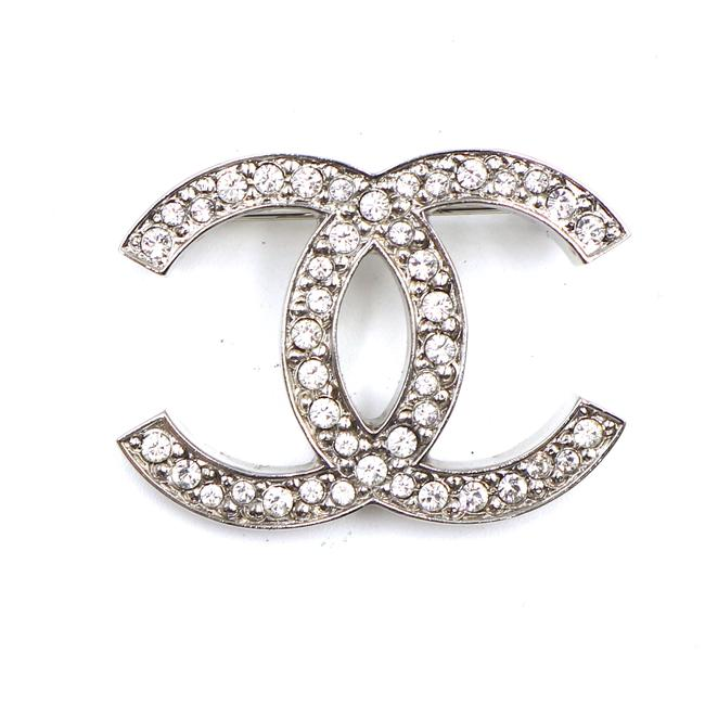 Item - #42854 Silver Cc Timeless Crystals Hardware Brooch Pin Charm