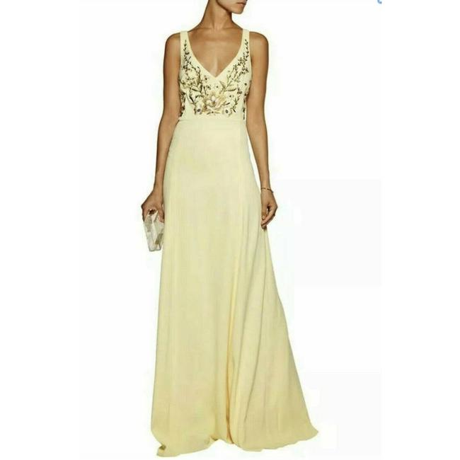 Item - Yellow Women's Embroidered Chiffon Gown Long Formal Dress Size 14 (L)