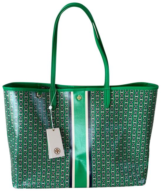 Item - Gemini Link Green Navy White Gold Coated Canvas Tote