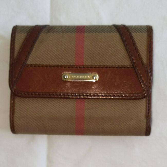 Item - Plaid Tri-fold Canves with Leather Trim Wallet