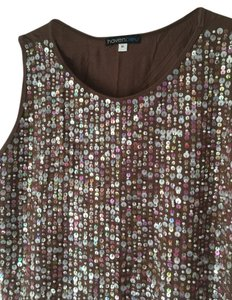 Other Fully Lined Soft Stretch Hand Wash Top Brown Front with sequins and pearls