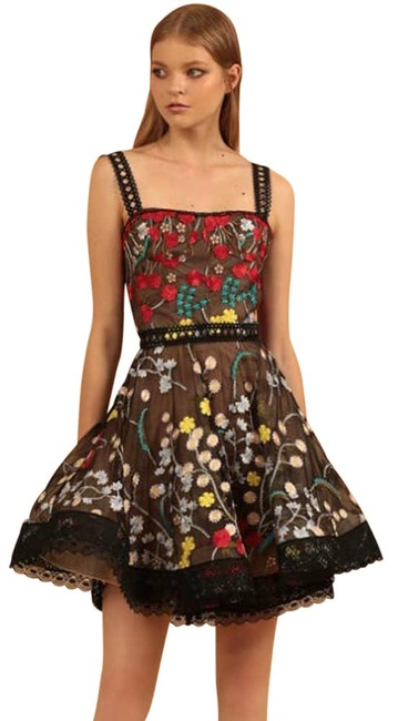 Item - Black Ivana Embroidered Tulle Mini Cocktail Dress Size 2 (XS)