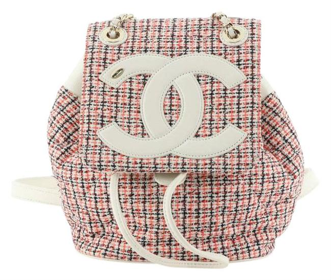 Item - Cc Mania with Lambskin Small Neutral Red Leather Tweed Backpack
