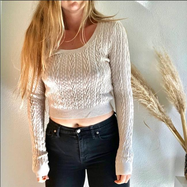 Item - L New Neck Cable Knit Crop Long Sleeve Cream Sweater