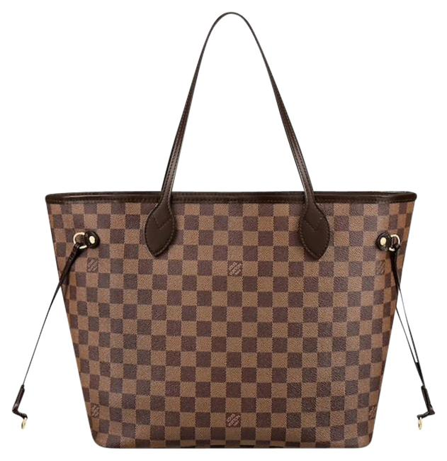 Item - Neverfull New Mm with Cherry Red Cerise Damier Ebene Brown Leather Tote