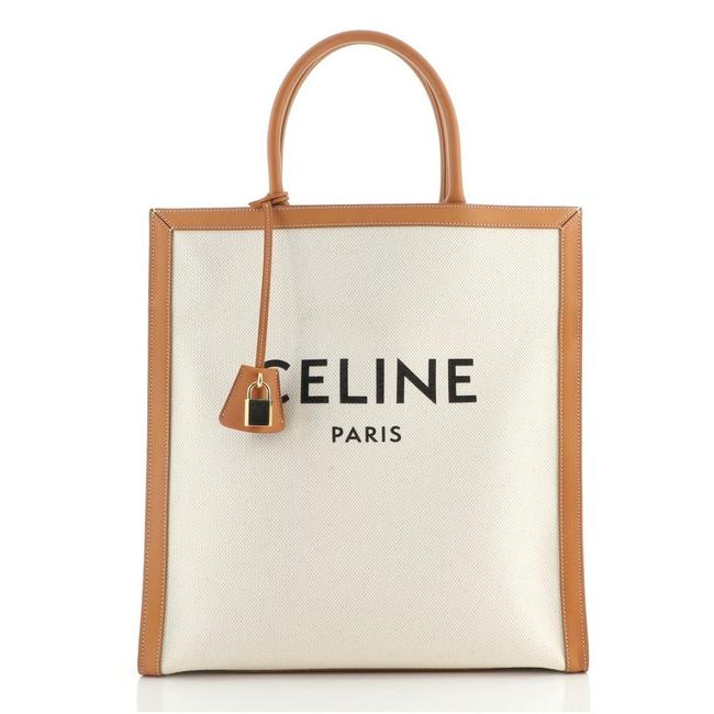 Item - Vertical Cabas Canvas with Large Brown Neutral Leather Tote