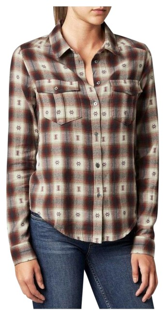 Item - Brown Mya Plaid Shirt In Dusty Scarlet Jacquard Button-down Top Size 0 (XS)