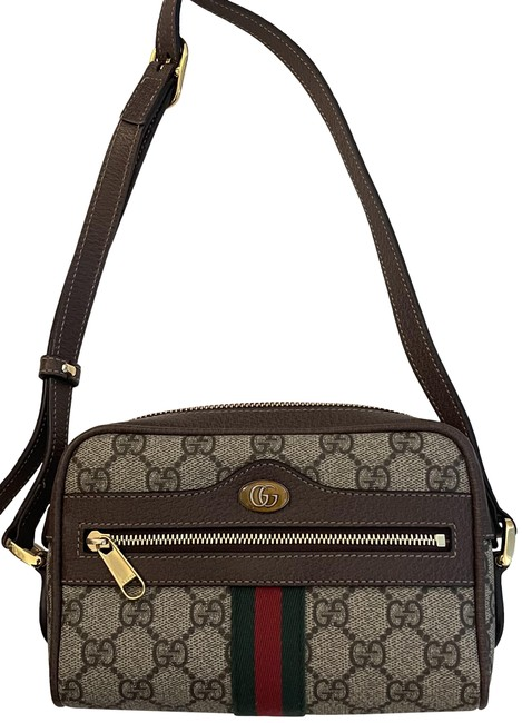 Item - Mini Ophidia Beige Gg Supreme Canvas with Brown Leather Trim Cross Body Bag