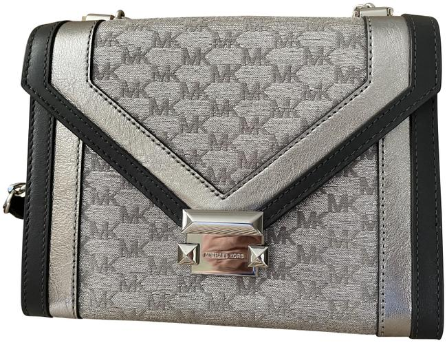 Item - Whitney Silver Leather Trimmed Fabric Cross Body Bag