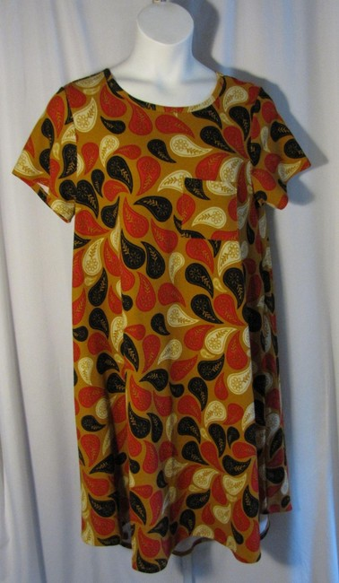 Item - Brown XL Pink Black Paisley Carly Stretch Mid-length Short Casual Dress Size 16 (XL, Plus 0x)