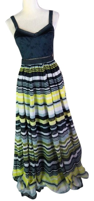 Item - Black and Yellow Pleated Long Casual Maxi Dress Size 6 (S)