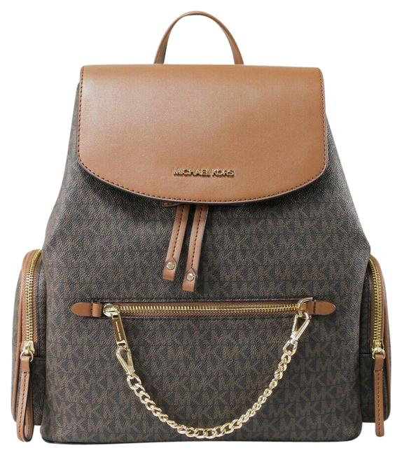 Item - Jet Set Large Chain Flap Book Brown Signature Pvc Leather Backpack