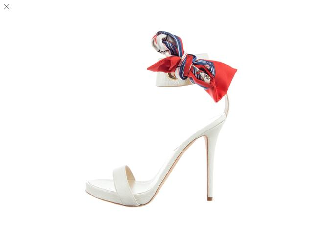 Item - Cream with Red and Blue Scarf Silk (Nwot) Sandals Size US 7 Regular (M, B)