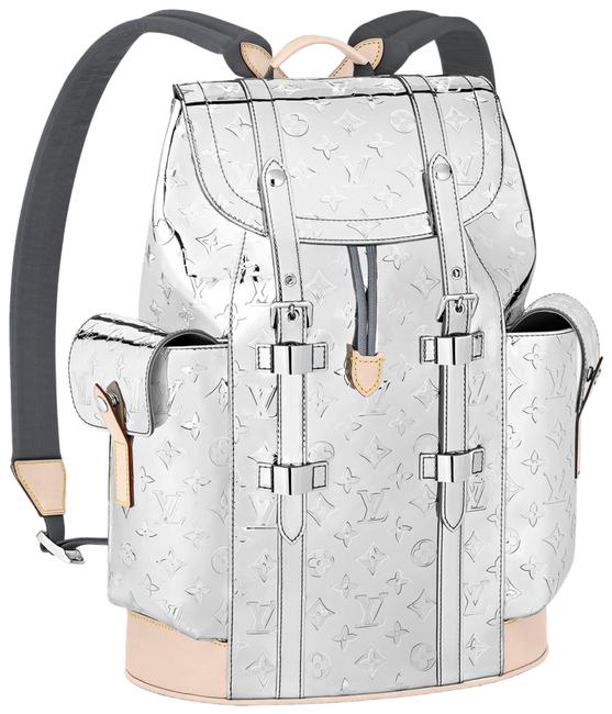 Item - Christopher Pm Mirror Monogram Logo Weekend Travel Silver Canvas Backpack
