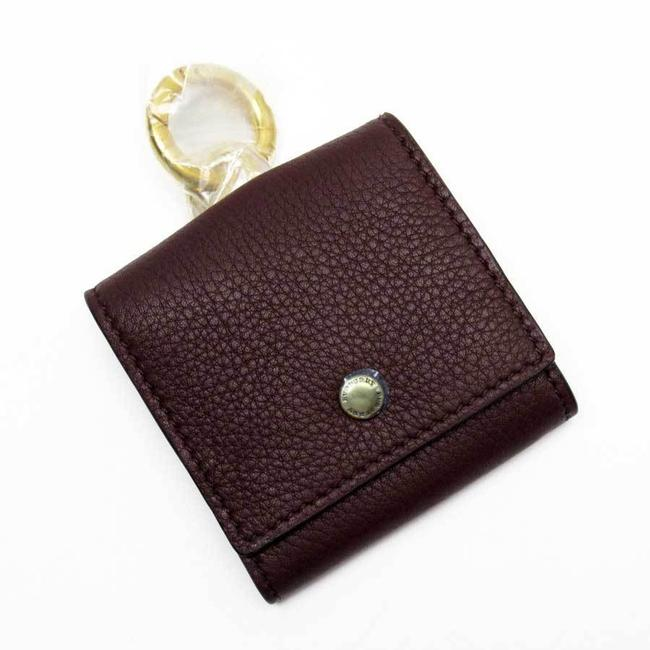 Item - Dark Red Coin Case Gold Leather Wallet