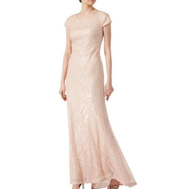 Item - Pink Cream Short Sleeved Sequin Gown In Blush Long Formal Dress Size 12 (L)