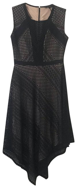 Item - Tan Tracie Asymmetrical Netted Cocktail Dress Size 4 (S)