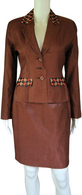 Item - Brown Times Seven Vintage Ribbon Woven S/6 Runs Small Skirt Suit Size 0 (XS)