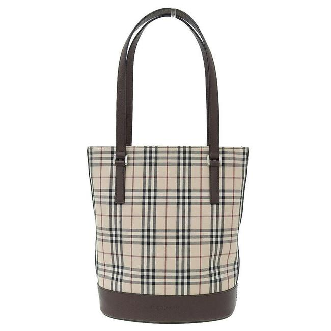 Item - Bag Check Beige / Brown Canvas / Leather Tote