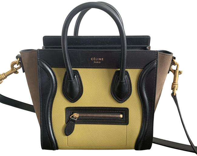Item - Luggage Nano Tricolor Black Suede Tan Chartreuse Calfskin Leather Cross Body Bag