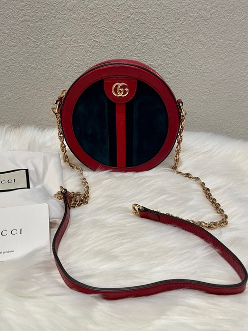 Item - Ophidia Round Shoulder New Mini Blue and Red Suede with Leather Trim Cross Body Bag