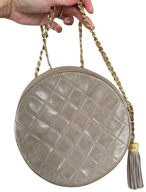 Item - Quilted Round Taupe Leather Shoulder Bag