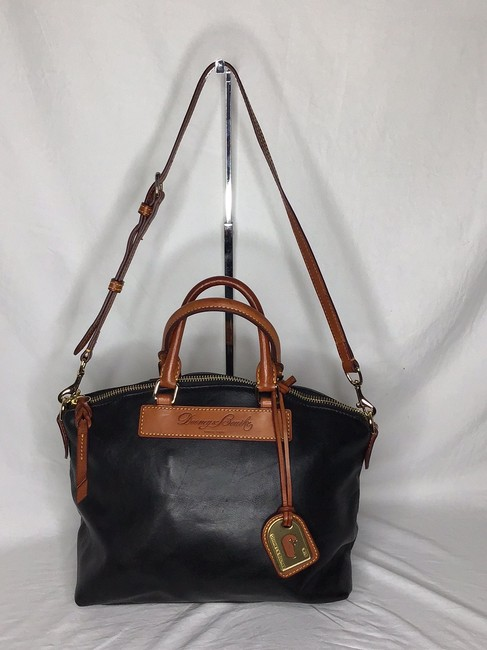 Item - Florentine with Tan Long Strap and Handle Black Leather Satchel