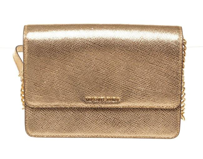 Item - Large Gusset Gold Leather Cross Body Bag