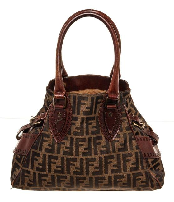 Item - Bag Brown Canvas Leather Tote