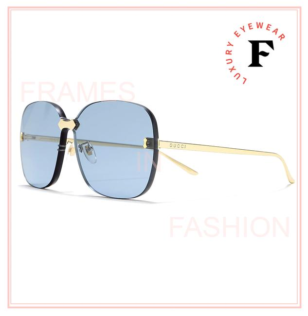 Item - Gold Blue 0355 Metal Oversized Square Rimless Thick Gg0355s Sunglasses
