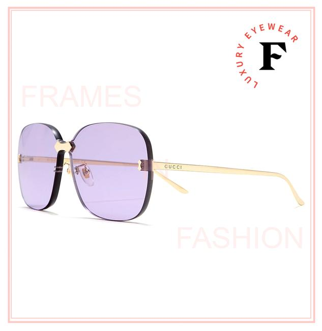 Item - Gold Lilac 0355 Metal Oversize Square Rimless Thick Gg0355s Sunglasses