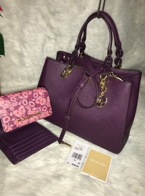 Item - Cynthia Purse and Matching Trifold Wallet Purple Damson Leather Cross Body Bag