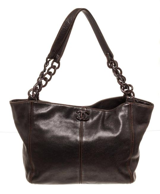 Item - Bag Cc Resin Chain Brown Leather Tote