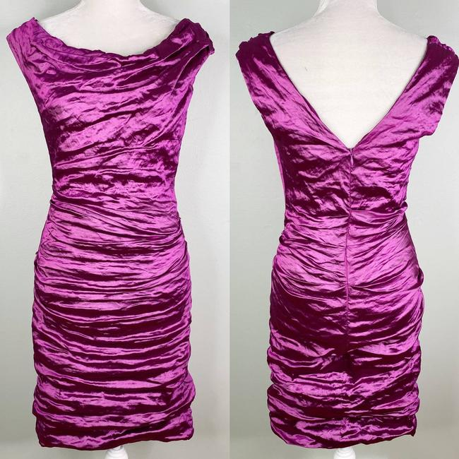 Item - Purple Ruched Crinkle Metal Techno Cocktail Dress Size 10 (M)