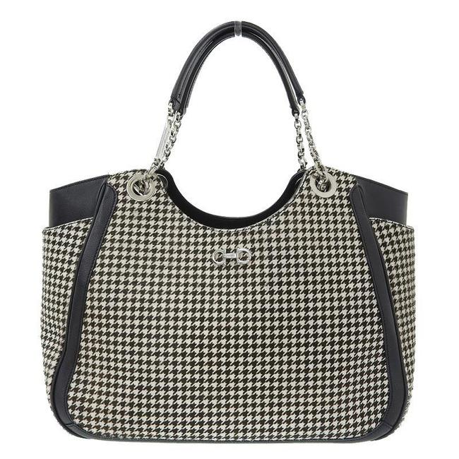 Item - Bag Double Gancini Harako Houndstooth Black / Brown / White Leather Tote