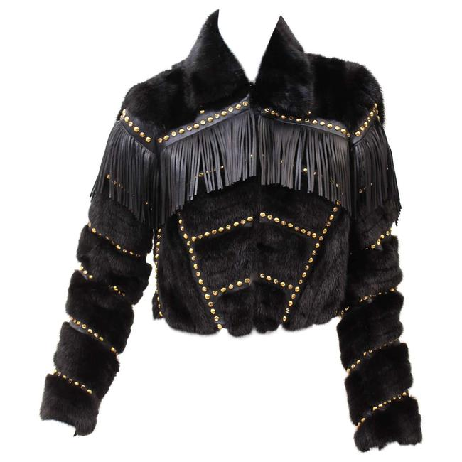 Item - Black F/W14 Look #19 Fur with Studs Crystal and Frin Jacket Size 2 (XS)