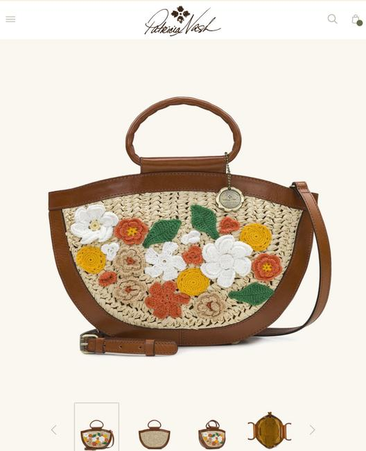 Item - Raffia Crochet Flowers Natural Leather with Straw Cross Body Bag