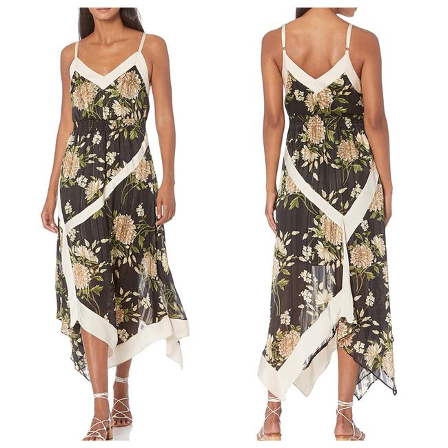 Item - Grey Floral Handkerchief Mid-length Cocktail Dress Size 4 (S)