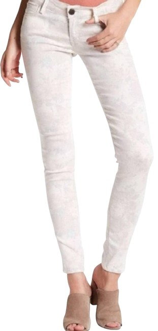 Item - Cream Floral Printed Skinny Jeans Size 24 (0, XS)