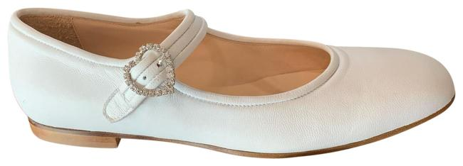 Item - White 37 Mary Janes with Embellished Buckle Flats Size US 7 Regular (M, B)