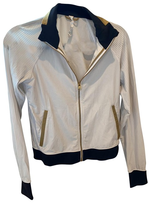 Item - White with Black and Gold Bomber Style Zip Up Activewear Outerwear Size 6 (S)