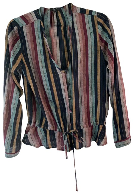 Item - Multi with Metallic Details Long Sleeve Button Down/Blouse Blouse Size 4 (S)