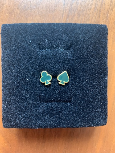 Item - Forrest Green and Gold Poker-motif Clubs Spades Design Earrings