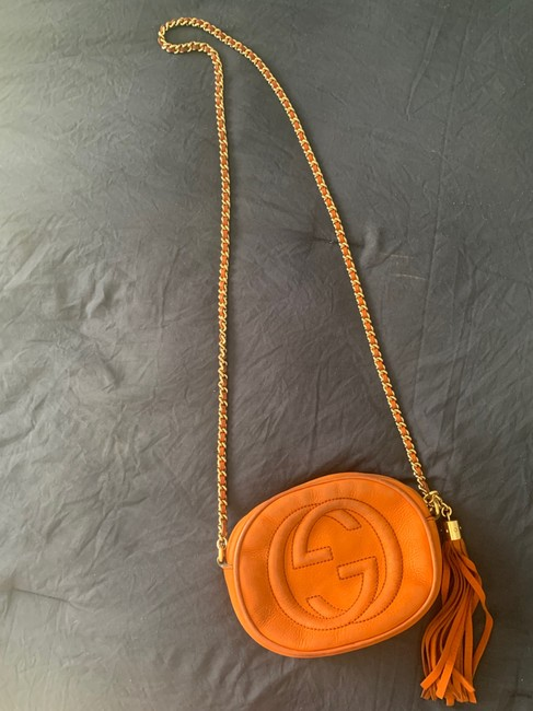Item - Vintage Purse with Chain and Tassel Orange Suede Leather Cross Body Bag
