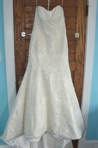 Oleg Cassini Strapless Satin Trumpet Gown With Lace Wedding Dress