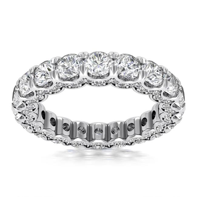Item - 14k White Gold 4.20ct Ladies Round Cut Eternity Band Earrings