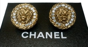 Chanel Authentic Chanel 1982 Vintage Leo Lion CC Logo and Crystal Earrings