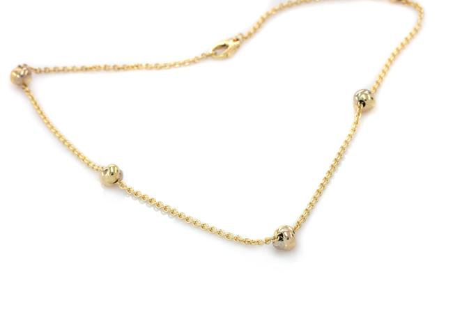 Item - Yellow Gold Tricolor 18k 5 Love Knot Station Chain Link Necklace