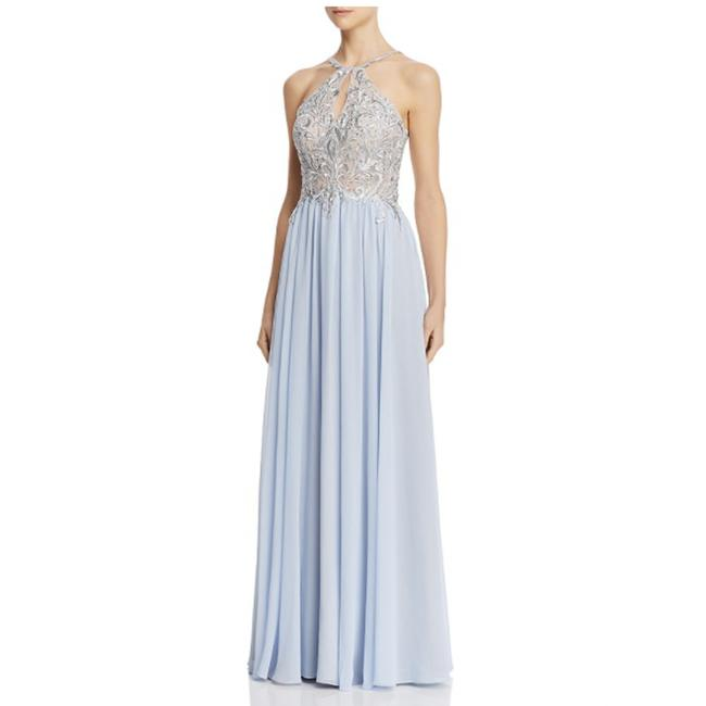Item - Blue Embroidered Chiffon Gown Light Formal Dress Size 2 (XS)